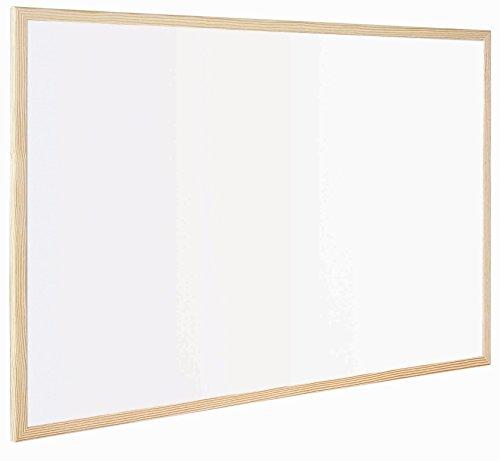 Bi-Office Budget - Tableau Blanc Magnétique, 40 x 30 cm, avec 1 Marqueur et 2 Aimants, Tableau à Mémo avec Cadre en Bois et Surface en Acier Laqué