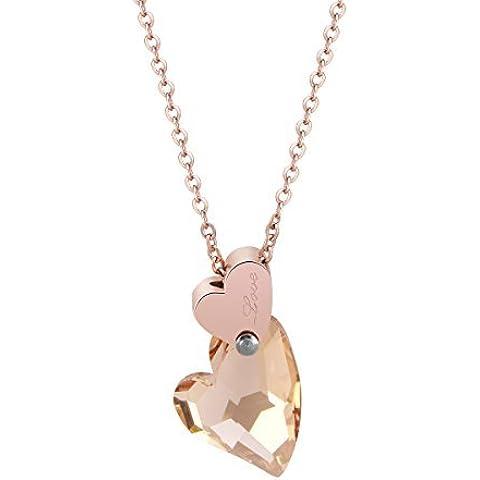 Swarovski Element Light Colorado Topaz Crystal Heart Charm Pendant Necklace 17.7,Fashion Jewelry Gift by ZINDOV
