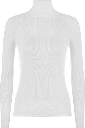 WearAll - Damen Gerippt Elastisch Rollkragen Top - Weiß - 36 / 38 (Weißer Rollkragen Top)
