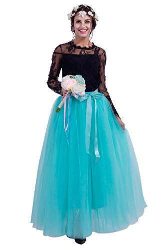 Kostüm Petticoat Chiffon - Damen Langer Tüllrock Tutu Unterrock für Halloween Kostüm Partykleid Unterkleid Maxilang 19 Farben