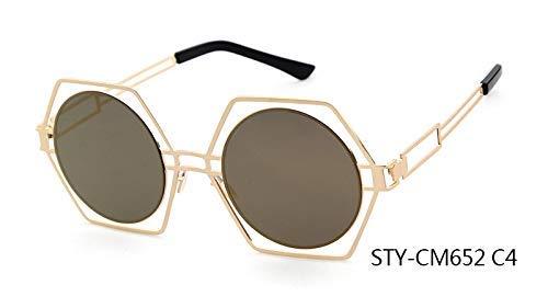 ZHAS High-End-Brille Neueste Persönlichkeit Blenden Sonnenbrille Sechseck Rahmen Runde Linse Aushöhlen Sonnenbrille Frauen Personalisierte High-End-Sonnenbrille Multi C4
