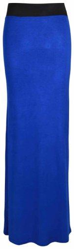 Purple Hanger - Jupe Longue Jersey Pour Femme Uni Droit Extensible Taille Élastique Bleu roi