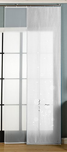 Gardinenbox 2er-Pack Schiebegardine Flächenvorhang, Zamora Weiß, 245x60 cm (HxB) Lasercut Wildseide Optik Voile inkl. Paneelwagen und Beschwerungsstangen, 1656100
