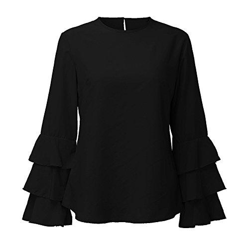 Minetom Donna Camicetta Blusa Maglia Maglietta Manica Lunga Elegante Moda Maniche Tromba Loose T Shirt Tops Nero
