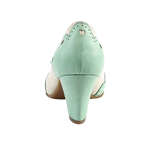 5efc57af591 Leather Wiggle Pin Up Couture Cream mint 17 Faux ybfvY7g6