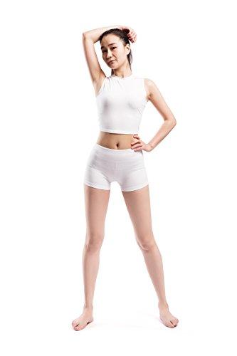 Alivebody Frauen-Workout Yoga Laufen Boy Cut Booty Shorts Weiß - Booty Frauen Shorts