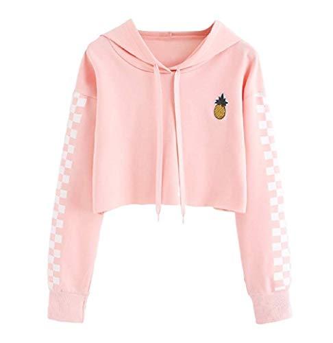 CuteRose Womens Cute Plaid Crop Tops Pineapple Long-Sleeve Hoodie Sweatshirts Pink XS (Cheap Hoodies Crop Top)