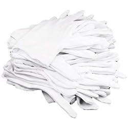 Gleader Lot de 12Paires de Gants hydratants 100% Coton Blanc