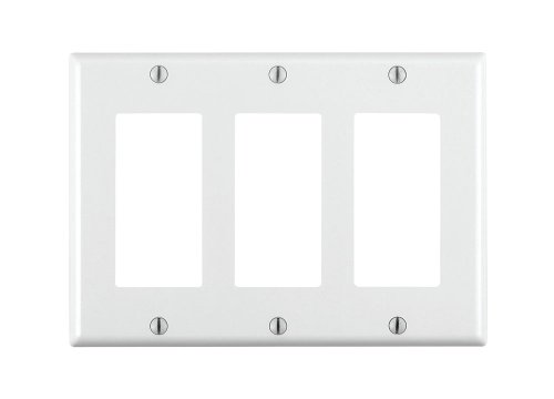 Gang White Decorator (Leviton 80411W 3-Gang Decorator Wall Plate)