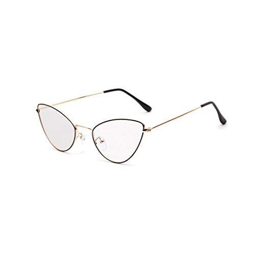 UICICI Metallspitze Ecke Cat Retro Small Glasses Frame, klare Linse (Farbe : Golden)