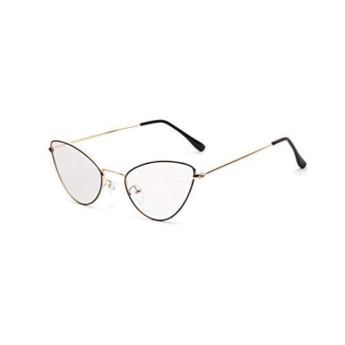 Easy Go Shopping Metallspitze Ecke Cat Retro Small Glasses Frame, klare Linse. Sonnenbrillen und Flacher Spiegel (Farbe : Golden)