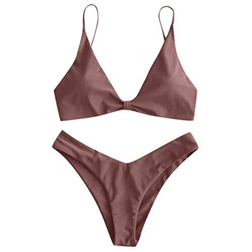 VBWER Damen Neckholder Bikini Set Sexy Neckholder Push Up Zweiteiliger Bikinis Einfarbig Badeanzug Bademode Strandkleidung Cutouts Strandbikini