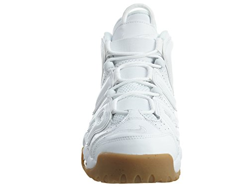Nike Air More Uptempo, Chaussures de Sport-Basketball Homme Blanco (white/white-bamboo-gum light brown)