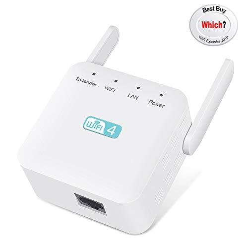 Getue Amplificateur WiFi,Répéteur WiFi à Forte Pénétrabilité,WiFi Repeteur avec 2 Antennes Externes,AP, 2,4GHz, 300Mbps,Compatible avec Tous Les Routeurs,Blanc