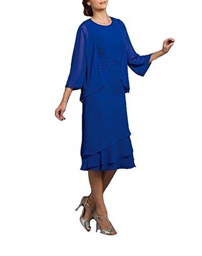 GEORGE BRIDE Damen grosse Groessen Tiered Brautmutterkleider Abendkleider  mit Bolero Festlichen Kleider fuer Mutter Blau