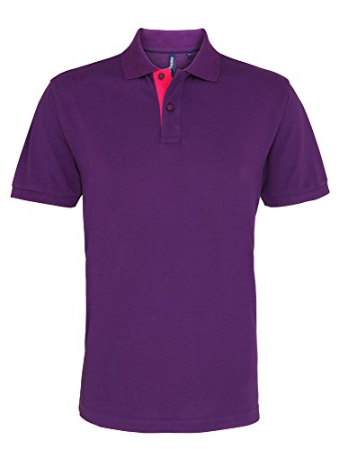 Asquith & Fox Mens Classic Fit Contrast Polo - 6 Colours / Sml-3XL Black/ Red