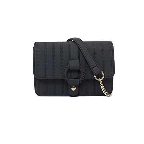 06701e2ea84f4 LETTER®Umhängetaschen Damenmode Leder einfache Handtasche Crossbody Schwarz2