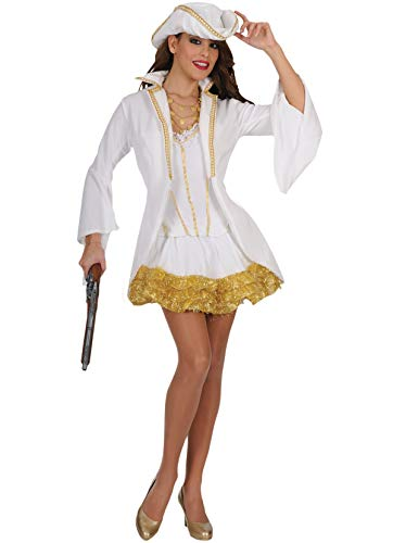 Fluch Kostüm Elizabeth Aus Karibik Der - Unbekannt Stamco, Piratenkapitän Weiß, Piratenkostüm für Damen