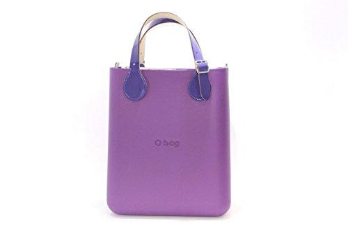 Borsa o bag o chic orchidea con manico corto in vernice e sacca
