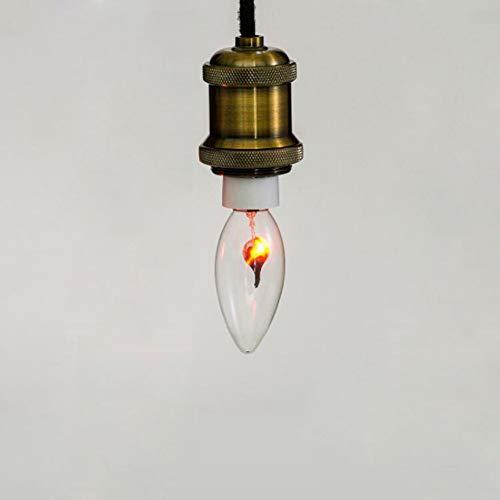 10 Licht Kronleuchter (W&Z Birne 1W Edison Glühbirne Kerze Flamme Birne Warmweißes Licht Energiesparlampe für Kronleuchter 10 Stück Glühlampen,E14)