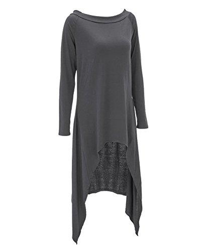 Chemisier Pull à Manche Longue Tunique Mini-Robe d'Automne Lâche Uni Femme Gris Foncé