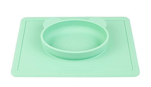 Nooni care ciotola bambini e tovaglietta antiscivolo in silicone, piatti per bambino per seggiolone (green)