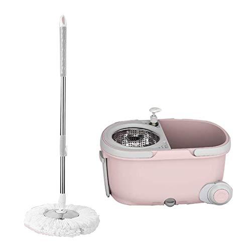 Mop profonda spinning pulizia e secchio set di pulizia a secco e umido a doppio uso regolabile capofamiglia * 3 (colore: viola) -pink