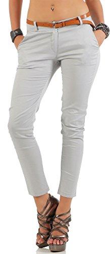 Malito Damen Chinohose mit Gürtel | Stretch Caprihose | schicke Freizeithose | Skinny - Slimfit - elegant 5388 (hellgrau, L)