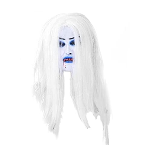 Tinksky Halloween Masquerade Masks Latex Terror Perruques Grimace Simulation White Hair Bleed Mask Costumes d'Halloween