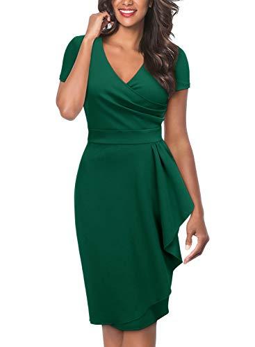 Miusol Damen Elegant Cocktailkleid asymmetrische Rüschen V-Ausschnitt Kurzarm Etuikleid Party Kleid Abendkleid Dunkelgrün M