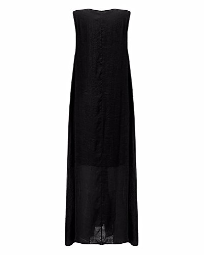 StyleDome Damen Ärmellose Retro Locker Lange Maxi Party Cocktailkleid Schwarz