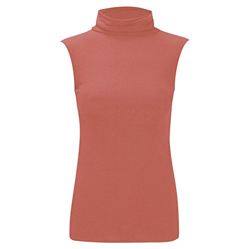 Da donna Nuovo Celeb Polo Tartaruga Collo Senza Maniche Donna Basics estate camicia top 8 – 26 Coral - Celebrity Inspired Polo Sleeveless Top