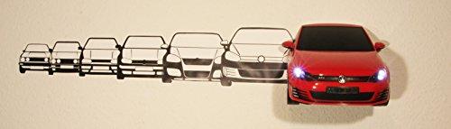 Preisvergleich Produktbild Volkswagen VW Golf GTI 3D LED Leselampe,  Nachtlicht inkl. Wandtattoo Wallsticker batteriebetrieben (Red)