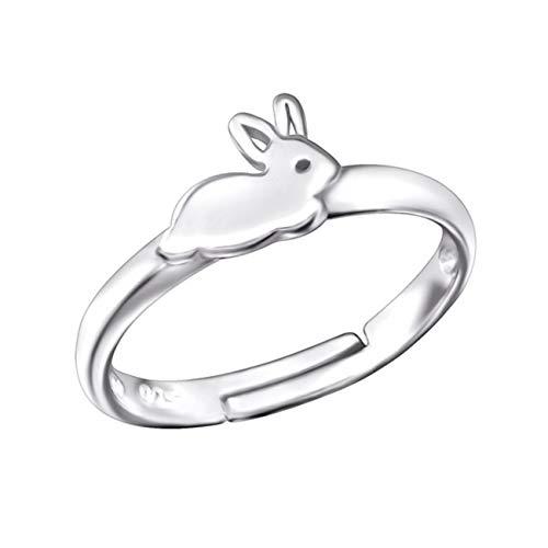 Kinder Ring 925 Echt Silber Mädchen Fingerring Emaille Kristalle Verstellbar (Hase / 6 x 8mm)