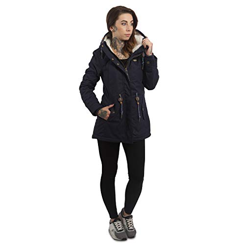 Ragwear Damen Wintermantel Parka Monadis, Navy, S - 5
