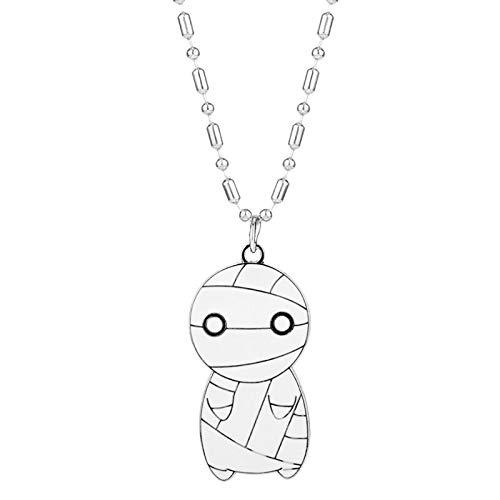 Mumie Schmuck Halskette Weiße Mumie Big-eyed Alloy Metal Anhänger Halskette Für Frauen Männer Geburtstagsgeschenk (Für Kostüme Männer Mumie)