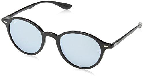 Ray Ban Unisex Sonnenbrille Round Liteforce, (Gestell: Schwarz, Gläser: Silber Flash 601/30), Medium (Herstellergröße: 50) (Flash Ray-ban Gläsern Sonnenbrille)
