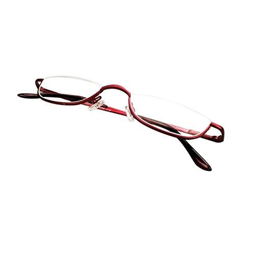 Inlefen Unisex Halbmond Halbrahmen Lesebrille Metall Material rahmen Frühling Scharniere Brillen (rot/+2.25) - 2.25