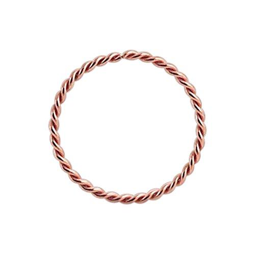 9K Rose Gold 22 Gauge - 8MM Durchmesser kontinuierliche Twister Hoop Nasenring Nase Piercing