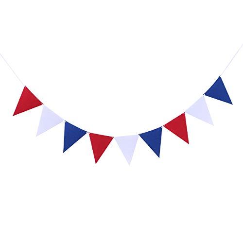 Amosfun Vierte Juli Bunting Banner fühlte Sich Girlande hängenden Wimpel Banner National Day Dekoration 2,5 m (rot blau weiß)