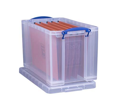 Really Useful - Caja de 24 L, transparente, incluye 10 carpetas colgantes