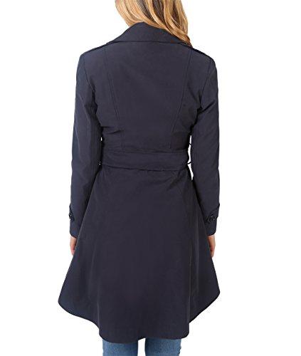 KRISP® Damen Trenchcoat Mantel Lange Ausgestellte Jacke Marineblau (3091)
