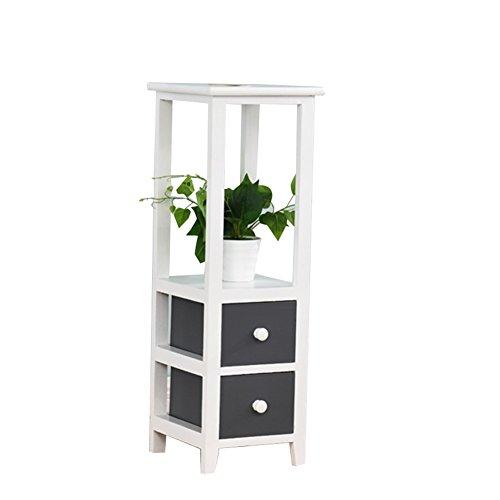 ZWD Étagères de pot de plancher d'intérieur, étagère multifonctionnelle de chambre à coucher simple en bois gris foncé de salon avec le tiroir ferme Produits menagers (taille : 28 * 28 * 80CM)