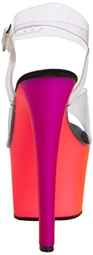 PleaserRainbow-308Uv - Décolleté con plateau e tacco donna Multicolore (Clear)