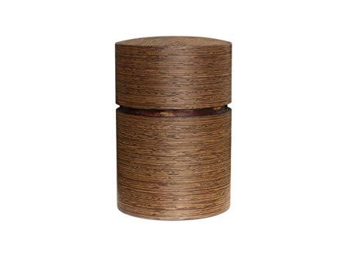 Denshiro - Japanische Teedose Rund 150g Losen Tee, Obizutsu Wenge, Braun, Wenge-Holz und Kirsch-Baumrinde. Zwei Aroma-Deckel, von Hand in Japan Gefertigt, Geschenk-Verpackung