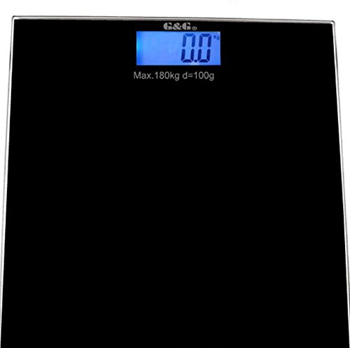 G&G A5 180kg DESIGN Digitalwaage Personenwaage AAA Batteriebetrieb GLAS Scale (Schwarz)