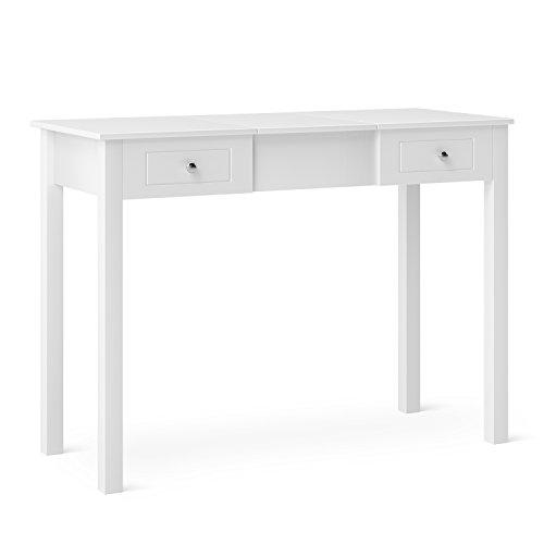 HOMFA Moderner Schreibtisch Schminktisch Frisierkommode Frisiertisch mit Flip Top Spiegel und Make UP Tisch mit 9 abnehmbaren Ordnern 2 Nebenschubladen Weiß Holz 110cm x 48cm x 81,5cm