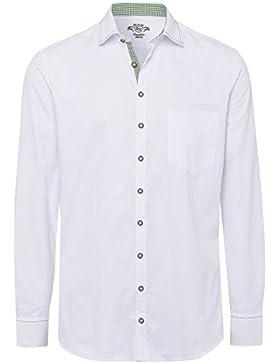 OS Trachten Herren Trachtenhemd Langarm Weiß Grün Willi 112640 - Slimfit
