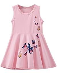 5060f06043efd BOBORA Robe de Princesse Décontractée sans Manches en Coton avec Papillons  pour Bébé Filles ...