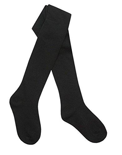 Medias Tick Tock para niñas, de algodón, en colores lisos Negro negro 6-12 Meses